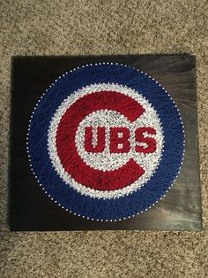 Chigaco Cubs String Art 15 inch by 16 inch Stain: Dark Walnut Other sizes and stains available by request