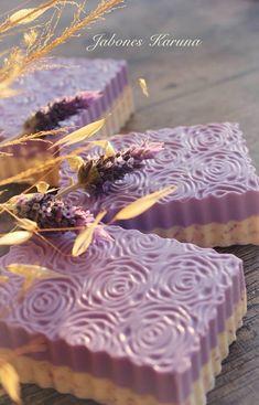 Lavender soap. Love the pattern and the confetti layer.