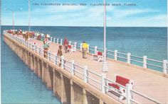 Clearwater Beach, Florida, Municipal Pier - Linen Postcard - Unused (A8) by postcardsofthepast on Etsy https://www.etsy.com/listing/285659661/clearwater-beach-florida-municipal-pier