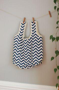 Reusable Fabric Grocery Shopping Bag / Market Bag / Eco-bag / Blue Chevron on Natural on Etsy, $16.00