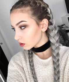 Silver ombre dyed boxer braid hairstyle by alieence