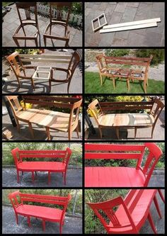 I like instructions with pictures DIY Chair Bench. I like instructions with pictures The post DIY Chair Bench. I like instructions with pictures appeared first on Garten ideen. Refurbished Furniture, Repurposed Furniture, Pallet Furniture, Furniture Projects, Furniture Makeover, Home Projects, Painted Furniture, Repurposed Doors, Porch Furniture