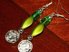 Indian Head/Buffalo Earrings with olive green beads by gr8byz, $17.00