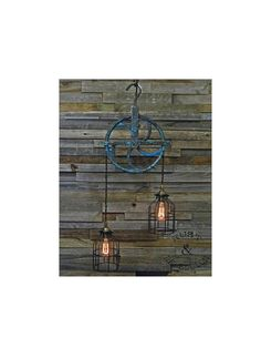 Vintage Rustic Blue Block & Tackle Cast Iron Pulley Pendant Light Lamp Industrial Man Cave Bar Chandelier 1 Of A Kind Steampunk