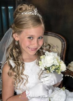 Image Result For Half Up Half Down Communion Hair With Veil