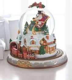 Image detail for -Christopher Radko Train Village Musical Snow Globe traditional holiday . Christmas Morning, Christmas And New Year, Christmas Time, Merry Christmas, Xmas, Disney Statues, Musical Snow Globes, Christmas Snow Globes, Water Globes