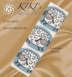 Pattern, peyote bracelet - Cute sheep peyote bracelet pattern  in PDF - instant download