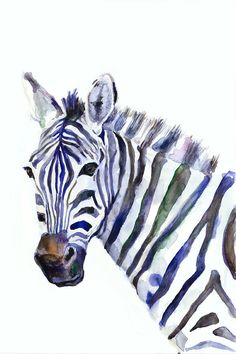 Print from my watercolor work. Series - Wildlife Zebra Watercolor by 12.05.2016  Print can be signed by me  QUALITY AND DETAILS ►Paper- Silk Matt