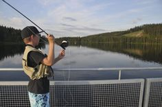 Lake Syväjärvi in Ukkohalla resort - Easy fishing from the pontoon bridge across the lake.