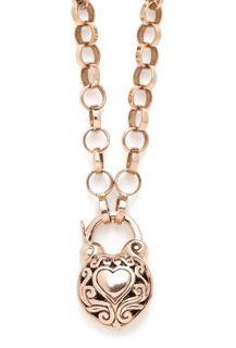 Heart within a Heart Padlock - Arik Kastan Heart within a Heart Padlock, Round Tudor Chain, all 14kt Rose Gold