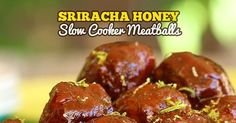 This is for the sriracha lover in you. Sriracha Honey Slow Cooker Meatballs are hot, sweet, tangy and wildly addictive. A simple recipe, . Baked Meatball Recipe, Meatball Recipes, Chicken Recipes, Quick Appetizers, Appetizer Recipes, Crockpot Recipes, Cooking Recipes, The Slow Roasted Italian, Ground Meat Recipes