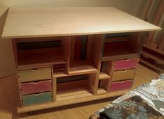 Studio Art Craft Table made from wooden crates and plywood