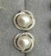 flower pearl earrings9-10mm ivory pearl by jewelryTang on Etsy