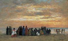 Eugène Boudin - Figuras en la playa de Trouville (1869)