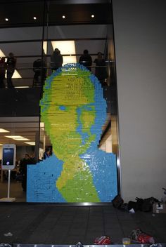 Steve Jobs Mural Made From Post-It Notes