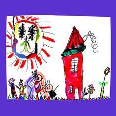 Kindertekening, meisje 5 jaar. Onderwerp: teken je eigen huis en wie wonen er met jou?