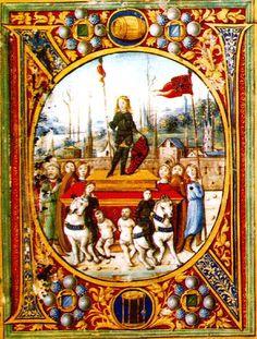 Corvin János bevonulása Bécsbe, Philostratus kódex  Bibliotheca Corviniana.