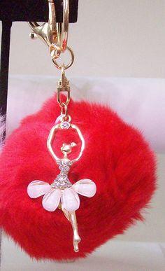 Key Chain red fluffy ball key chain rabbit by DesignsbySuzanne1