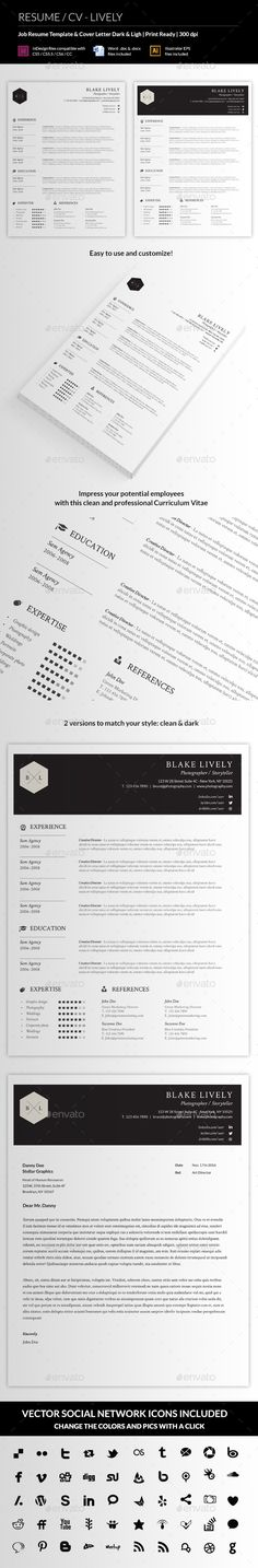 Resume/CV Template #design Download: http://graphicriver.net/item/resumecv-lively/11541014?ref=ksioks