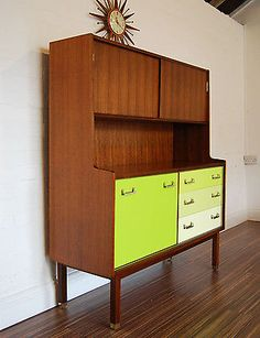 RETRO UPCYCLED G PLAN HANDPAINTED AND REFINISHED TEAK SIDEBOARD WALL UNIT