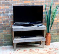 Retro Media Center / Tv Stand, Unfinished Gray Wood, Rustic Contemporary…
