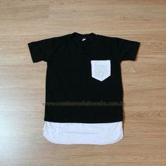Camiseta Infantil Masculina Longline Barra Estendida Double Layer Com Bolso Preta e Branca #swag #criança #meninos