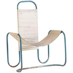 For Sale on - Painted blue metal Bauhaus sling chair with original canvas upholstery. Wooden Dining Room Chairs, Farmhouse Table Chairs, Outdoor Dining Chair Cushions, Metal Chairs, Cool Chairs, Blue Chairs, High Chairs, Accent Chairs, Beach Chairs