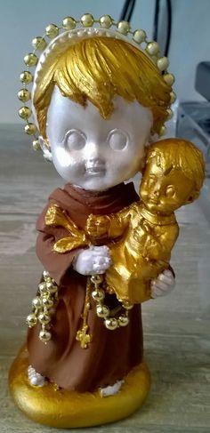 Santíns Liz Arteira. Santo Antônio com Menino Jesus. 15cm. $50,00