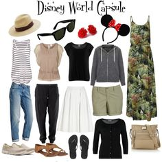 What to wear to Disney World. Wardrobe Travel Capsule. Summer and Winter. Disneyland. Disney World. Plus Size ideas. Used exact items or very similar to what I own, I don't wear short shorts, skirts or dresses so is more of a 'modest' capsule. Enough items to make 10 outfits or more. By mimmy-05 on Polyvore