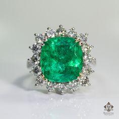 Estate 18k Gold 1.9ct. Diamond & 6ct. Emerald Ring – Rozental Antiques
