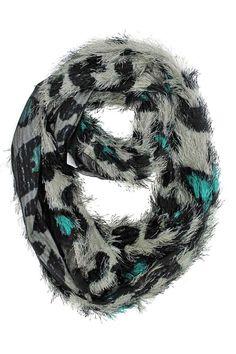 Animal Print Furry Ring Scarf