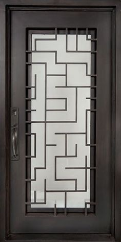 Modern Geometric Style Wrought Iron Front Entry Door