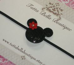 Minnie Mickey Mouse Headband  Black Sequin by TuttaBellaBoutique, $5.00
