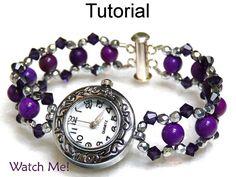 Beading Tutorial Pattern Watch Bracelet - Beaded Watch Jewelry - Simple Bead Patterns - Watch Me! Simple Jewelry, Diy Jewelry, Beaded Jewelry, Jewelry Bracelets, Jewelery, Jewelry Making, Handmade Bracelets, Embroidery Bracelets, Beaded Bracelet Patterns