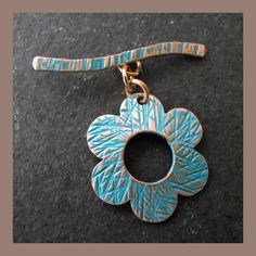 Pure Copper Flower Toggle Clasp - turquoise patina finish £5.50