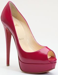Christian Louboutin Red Lady Peep Patent Leather Platform Pumps