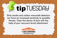 SERVPRO Tip Tuesday.  Smoke alarms may look clean, but dust can accumulate inside the cover, especially in newly built homes. Keep them clean with this #TipTuesday.