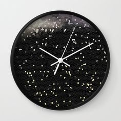 Night sky wall clock,circle children room wall clock,baby room wall clock,black and white,modern wall clock,essential wall clock by forkidsfun on Etsy