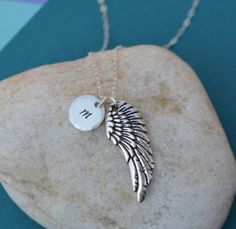 Mother's Day Sale  Silver Wing Initial Charm by SeaSaltShop, $20.70