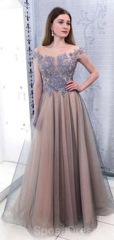 d9a1d2f804 Cap Sleeves Scoop Dusty Blue Lace Grey Evening Prom Dresses