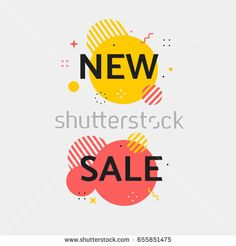 New and Sale tag. Vivid transparent banner in retro poster design style. Vintage color and simple shapes, lines, stripes, circles, outline flashes. Red and black colors. Web Banner Design, Web Design, Logo Design, Typo Logo, New Sticker, Sale Banner, Text Style, Graphic Design Posters, Social Media Tips