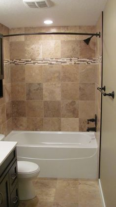 Bathroom, : Good Looking Brown Tiled Bath Surround For Small Bathroom Decoratoin