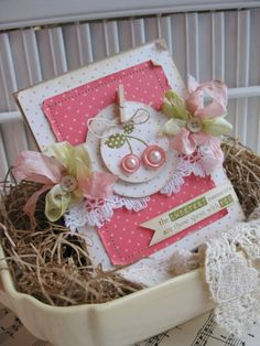 so sweet!  pearls on buttons, silk ribbon, clothes pin, dots, pink, lace...too cute!
