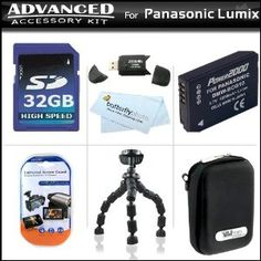 Click Here http://gadget-core.com/bestseller.php?p=B004BFE2OA For Best Price and Cheap 32GB Advanced Accessory Kit For Panasonic Lumix DMC-ZS7 DMC-ZS9 Digital Camera Includes Gripster Flexible Tripod + 32GB High Speed SD Memory Card + USB 2.0 Card Reader + Extended Replacement Panasonic DMW-BCG10 (1200 mAH) Lithium-Ion Battery + Case + Mor (Electronics) Best Seller and Best Buy click image to review :D
