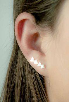 Silver Triangle Ear Cuff, Matte Sterling Silver, Silver Ear Pin, Geometric Ear Wrap, Minimalistic, Modern Jewelry, Gift, EC007