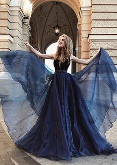 navy blue formal evening dress, 2018 prom dress, long prom dress, graduation dress