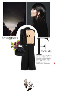 """dark sky"" by crilovesjapan on Polyvore featuring moda, John Galliano, Balmain, Elizabeth and James, Chanel, Lanvin, croptop, jacket, necklace e culotte"