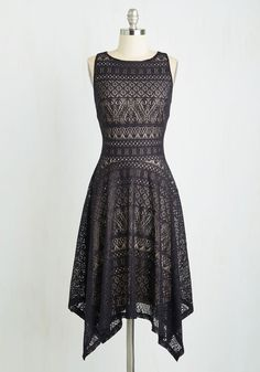 Moon Reverie Dress. Youre ready for a midnight to remember in this black cocktail dress! #black #modcloth