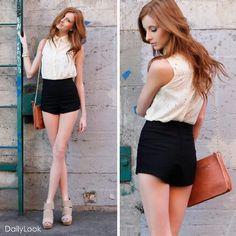blouse + highwaist shorts.