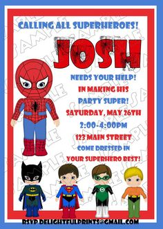 Spiderman birthday invitation and friends many colors...DIY you print custom photo card by delightfulprints